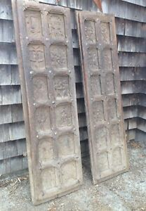A Pair Of Polynesian Hand Carved Wooden Doors Folk Art