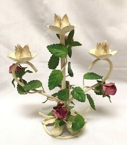 Vintage Italian Tole Toleware Table Desk Top Candle Holder Roses W Leaves 10
