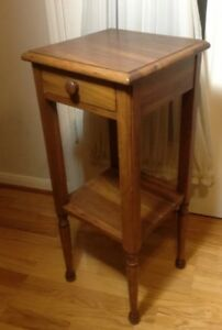 Vintage Antique Wood Square Side Table Plant Stand W Drawer