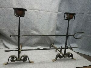 Antique Cast Iron Fireplace Andiron Set With Copper Pots And Tools Oversized