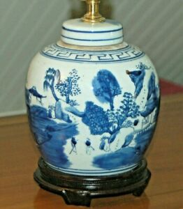 Chinese Canton Porcelain Ginger Jar Lamp Blue And White Lamp 2n
