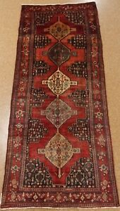 Persian Koliai Rug Tribal Hand Knotted Wool Red Navy Imaginative Oriental 4 X 10