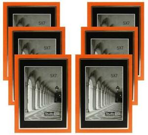 Studio 500 5 By 7 Inch Sleek Orange W Silver Picture Frames 6 Pieces
