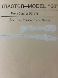 John Deere Agricultural Farm Tractor Model 60 Master Parts Manual Sn 6000001 up