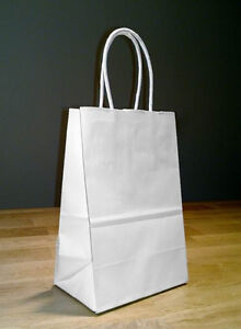 5 25x 3 25 X 8 5 Small White Paper Shopping Gift Bags With Rope Handles