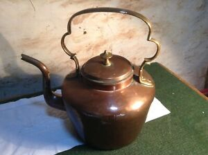 Antique Brass And Copper Large Kettle C5 464 B8