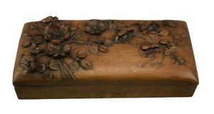 Black Forest Carved Wood Flower Box Signed Folk Art Jewely Trinket Pencil Box