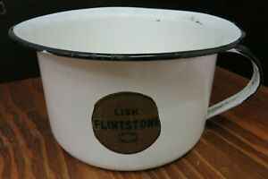 Vintage Lisk Flintstone Porcelain Enameled Ware Handled Chamber Pot Very Good
