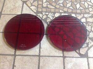 Early Pair Red Glass Flat Stop Lenses Kopp 5 3 8 Vintage Auto Truck