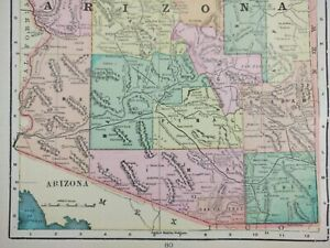 Vintage 1901 Arizona Territory Atlas Map 11 X14 Old Antique Phoenix