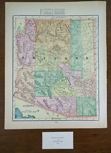 Arizona Territory 1900 Vintage Atlas Map 11 X14 Old Antique Scottsdale