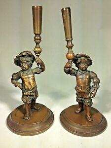 Antique French Pair Of Bronze Figural Court Pages Torch Holders Candle Holders