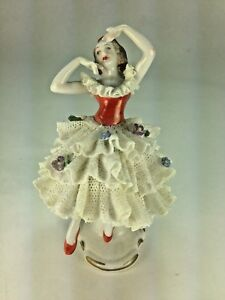 Vintage Lovely Volkstedt Dresden Porcelain Lace Red Shoe Dancer Figurine