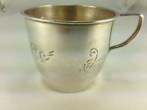 Vintage F Ramirez Sterling Silver Baby Cup With Butterflies Ducks Chicks