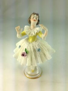 Antique Lovely Dresden Volkstedt 1762 Porcelain Lace Figurine The Dancer