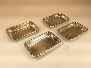 Set Of 4 Poole Sterling Silver Rectangle Butter Pat Small Trays 81