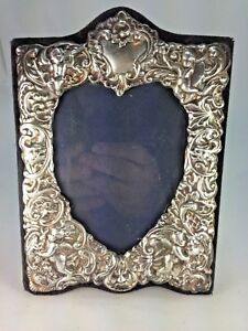 Elegant Sterling Silver English Kf Ltd Heart Shape High Repousse Photo Picture