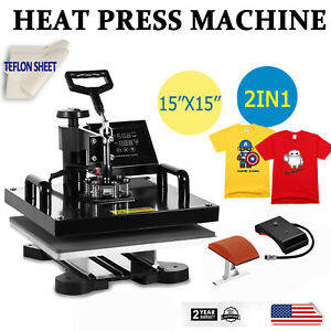 15 x15 2in1 Combo Heat Press Transfer Machine T shirt Cap Hat Sublimation