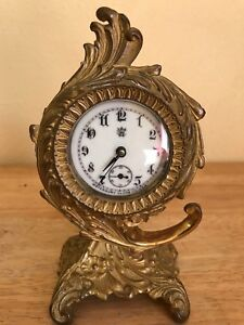 Antique Waterbury Ornate Victorian Brass Desk Mantle Clock Porcelain Face 1891