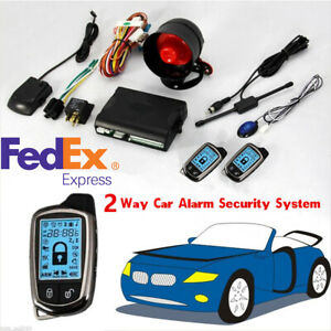 2 way Car Auto Alarm Security System Keyless Entry Lcd Long Distance Controler