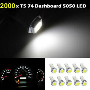 2000x Car T5 1smd Led Bulbs Wedge Gauge Cluster Dashboard Instrument Panel Light