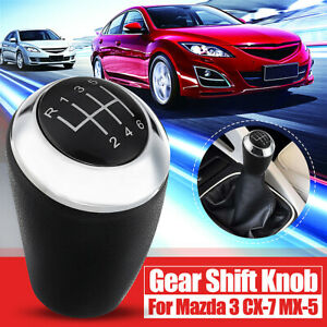 6 Speed Leather Gear Stick Shift Knob For Mazda 3 5 6 Series Cx 7 Mx 5 2003 2017