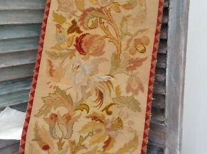 19th Century Hand Made French Wool Petit Point Needle Tapestry C 1860 16x92
