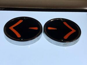 Nos Pair Arrow Chrome Turn Signal Bezels Light Dodge Chevy Car Truck Ford Old