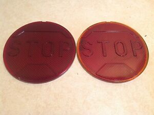 Pair Vintage Red Glass Stop Early Automobile Truck 4 1 8 Light Lamp Lens 2789