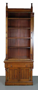 Victorian Renaissance Revival Bookcase Cabinet With Gothic Finials As Is