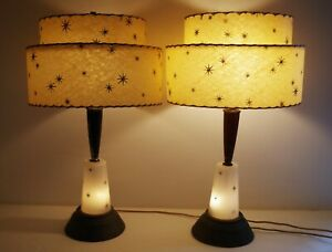 Mid Century Modern Atomic Starburst Pair Of Lamps Original Fiberglass Shades