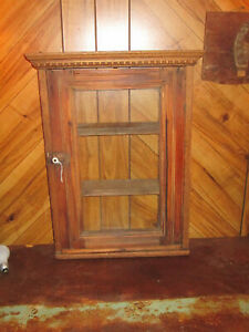 Antique Wood Glass Medicine Cabinet Wall Hanging Box Display Case