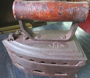 Antique Coal Heated Cloth Press Coal Burning Iron Press Cast Iron Wood Handle