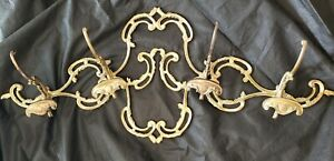 Vintage Brass Victorian Coat Hat Rack Hanger Ornate Scroll 4 Hooks