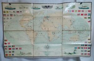 Antique Imperial Germany Naval Route World Map 55551