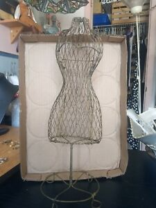 Vintage Antique Wire Metal Doll Dress Form 15 Tall Display Use For Earrings