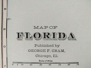 Vintage 1902 Florida State Atlas Map 14 X22 Old Antique Original Tampa Mapz