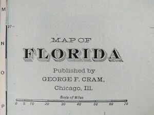 Vintage 1900 Florida Map 14 X22 Old Antique Original Tampa St Petersburg Mapz