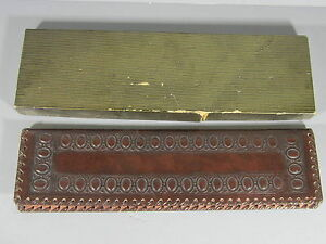 Tooled Leather Arts Crafts Style Calendar For The Year 1958 W Original Box