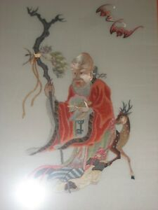 Vintage Chinese Silk Hand Embroidery Old Man Longevity