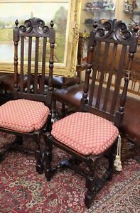 Antique Pair Of Spanish Chairs With Cushions