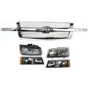 Grille Assembly Kit For 2003 2006 Chevrolet Silverado 1500 Front 5pc