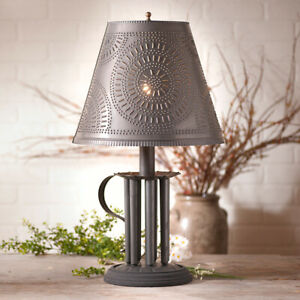 Country Primitive Round Candle Mold Lamp W Chisel Shade In Black Tin Free Ship