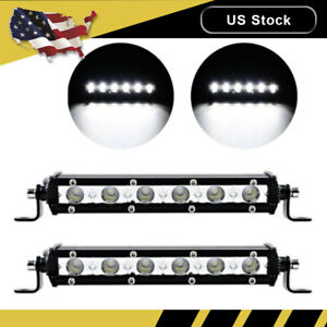 2x 7 Inch 18w 6 Cree Led Work Light Bar Flood Spot Driving Lamp Offroad Atv Us