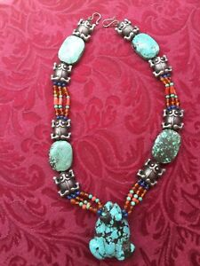 Old Chinese Carved Turquoise Frog Carnelian Lapis Bead Silver Necklace