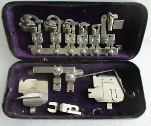 White Rotary Sewing Machine Attachments Kit Tin Case Accessories Parts Vintage
