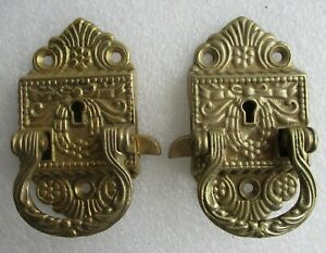 Ornate Pair Cast Brass Antique Style Ice Box Hinges 1 Left 1 Right Replacement