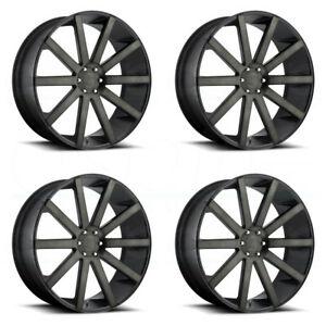 24x10 Dub Shot Calla S121 5x5 5 5x139 7 25 Black Machined Wheels Rims Set 4