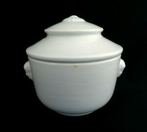 Antique White Ironstone Covered Sugar Bowl Soup Bowl Female Head Handles