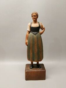 Vintage Made In Switzerland Wooden Carved Figure 11 1 2 Lady